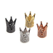 Gold/Silver Plated Micro-Pave Crystal Crown Charm Spacer Beads Fit DIY Bracelet