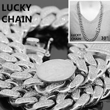 STAINLESS STEEL ICED OUT CUBAN LINK SILVER CHAIN NECKLACE 30''x18mm 410g