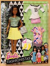 Barbie fashionistas glam con Fashion Moda amarillo plisada dtd97 nuevo/en el embalaje original muñeca