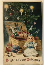 Unusual~Doll with Basket of Wine & Fruit~ Christmas Tree~Antique Postcard-a618