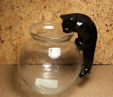 "Vintage Aquarium | 4"" Ceramic Climbing Cat for Glass Bowl 