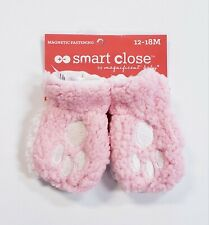 Magnificent Baby Magnetic Me Sherpa Fleece Mittens Pink Paw Print 12-18 Months