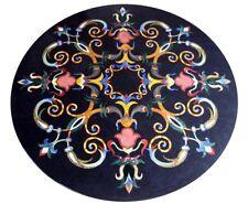 "24"" pietra dura marble round Table Top semi precious stone Home Furniture"