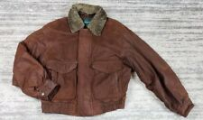 ANDREW MARC NEW YORK BROWN LEATHER BOMBER AVIATOR MENS JACKET COAT SIZE Large