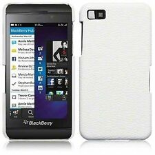 For Blackberry Z10 PU Leather Hard Back Case Cover - White