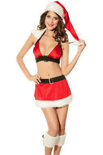 Women's Christmas Saint Nick Costume Lingerie Reggiseno e Gonna