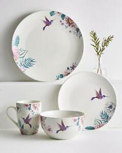 Birds Dinner Porcelain 16 piece Set Home Dining Kitchen Tableware Good Size NEW