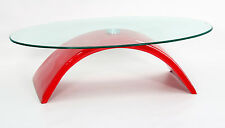 Coffee Table Clear Glass Oval Top Red Gloss Curved Base Retro Designer Table