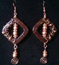 ARTSY COPPER WIRE WRAP brown frame & copper bead earrings by Sandy of Scottsdale