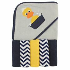 Luvable Friends Boy Hooded Towel with Washcloths, 6-Piece Set, Duck