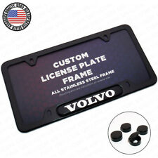 Black Stainless Steel Front Rear Emblem License Plate Frame Cover Gift - Volvo