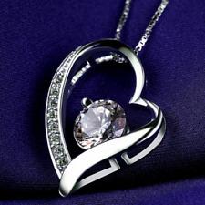 Silberkette Halskette mit Anhänger Kette Silber Geschenk Kristall Herz Liebe top