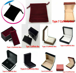 9 Deluxe Styles Cufflinks Storage Display Gift Presentation Box and Velvet Pouch