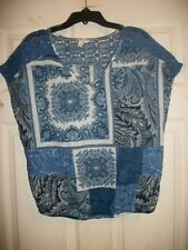 SONOMA LIFE+STYLE FLORAL PRINT BLUE LACE CAP SLEEVE BLOUSE/TOP SIZE MEDIUM