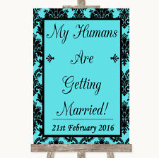 Wedding Sign Poster Print Blue Damask My Humans Are Getting Married