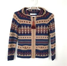 Anthropologie SPARROW Nordic Zip Hoodie Sweater Fringe Aztec Multi Women's Small