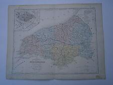 Carte 19° 1852  couleur Malte brun Département de la Seine Inférieure plan Rouen