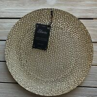 New Silverina TURKISH GLASS Dinner Plates Set Of 4 HOLIDAY Gold SPARKLE