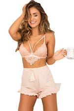 Club Top reggiseno push up Nudo Ricamo Pizzo Crochet Lace Strappy Bralette Bra L
