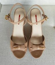 Prada Women Nude Patent Leather Wedges  Size 41 EU 10.5 US