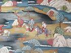Vintage Sakai Teal Japanese Toile Type Cotton 280cm Wide Curtain Fabric