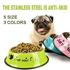 Stainless Steel Anti Skid Pet Dog Cat Food Water Dish Bowl Feeding Feeder Tool