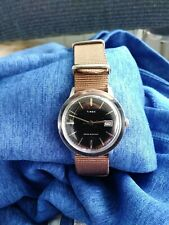 1977 Timex Marlin Series Mechanic Watch GB Chrome Case Black Dial Serviced