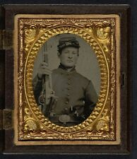 Photo Civil War Union Young Soldier Stag Bone Handle Knife Revolver Musket