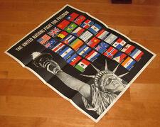original WWII Broder art poster Allies flags Statue of Liberty