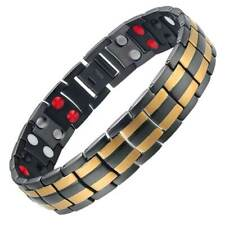 Black Gold 4in1 Titanium Magnetic Therapy Bracelet For Men or Women Pain Relief