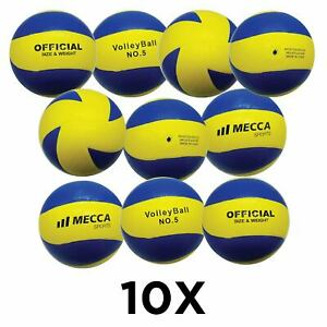10 x Rubber Volleyball for Indoor and Outdoors - Official Size and Weight