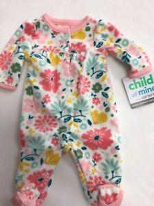 Preemie baby girl fleece footie Child of Mine. darling floral print