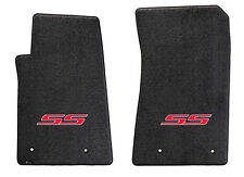 NEW! Ebony Floor Mats 2010-2015 Camaro Embroidered Logo SS in Red 2 pc SET