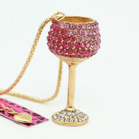 Betsey Johnson Crystal Wine Glass Goblet Pendant Sweater Chain Necklace Gift