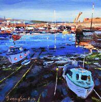 Jeremy Sanders Original Oil Painting - Boats At Newlyn Cornwall (Cornish Art)