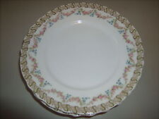 """7 Theo Haviland Limoges Fra.Green/ Gold Ribbon w/Roses, Forget Me Nots 8"""" Plates"""