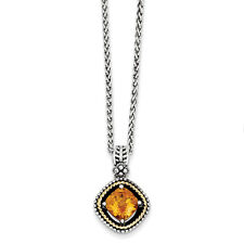 """Citrine Pendant 18"""" Necklace Sterling Silver and 14K Gold Accent Shey Couture"""