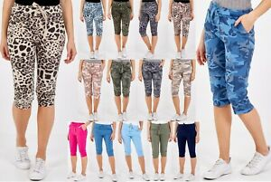 Womens 3/4 Length Stretch Leopard Camo Print Trousers Ladies Capri Cropped Pants