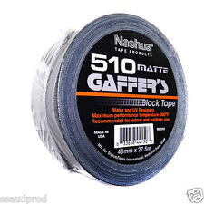 Nashua 510 Gaffa 2 Rolls 48mm x 27.5M Matte Black Gaffers Tape FREE FAST POST
