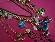 Betsey Johnson Blue Crab & Charm Necklace