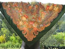Châle 125 x 125 cm 100% laine, franges soie authentique PAVLOVO  POSSAD RUSSIE