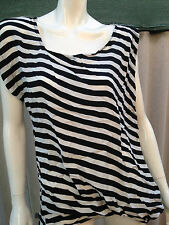 BNWT designer top MANNING CARTELL sz10 tank black white stripe nautical RRP $279