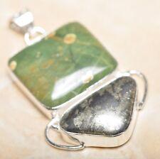 "Handmade Apache Gold Natural Gemstone 925 Sterling Silver Pendant 2"" #P14500"