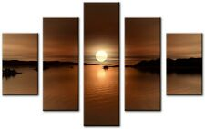 5 Panel Total 115x80cm Large ABSTRACT ART CANVAS  DIGITAL FIRE Brown