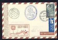58748) Österr. Ballonpost RBF 15 Wien 29.4.56, Kte Israel Fallschirm parachute