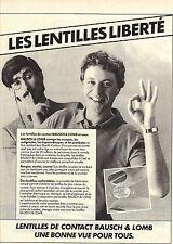 PUBLICITE ADVERTISING 1984 BAUSCH & LOMB  lentilles de contact optique lunettes