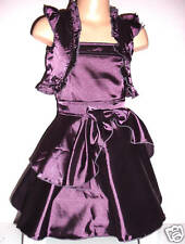 GIRLS PURPLE SATIN BOW TRIM EVENING OCCASION PARTY DRESS & SHRUG SET age 3-4