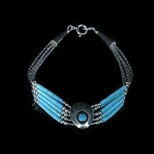 5 Strand .925 Liquid Sterling Silver Natural Turquoise Bear Paw Claw Bracelet
