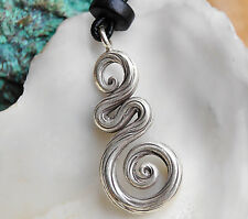Silber Kettenanhänger 3,5 cm Schlange Draht Linien Spirale Dick Muster Gedrekt