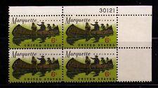 US USA Sc# 1356 MNH FVF Plate# Block Explorer Marquette Canoe Paddle Jesuit